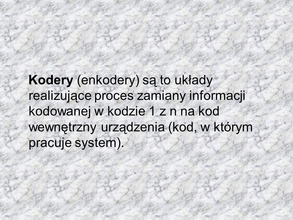 Kodery (enkodery) są to układy realizujące proces zamiany informacji kodowanej w kodzie 1 z n na kod wewnętrzny urządzenia (kod, w którym pracuje system).