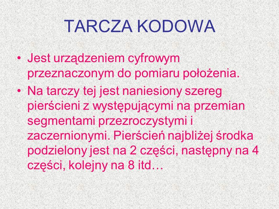 TARCZA KODOWA Jest urządzeniem cyfrowym przeznaczonym do pomiaru położenia.
