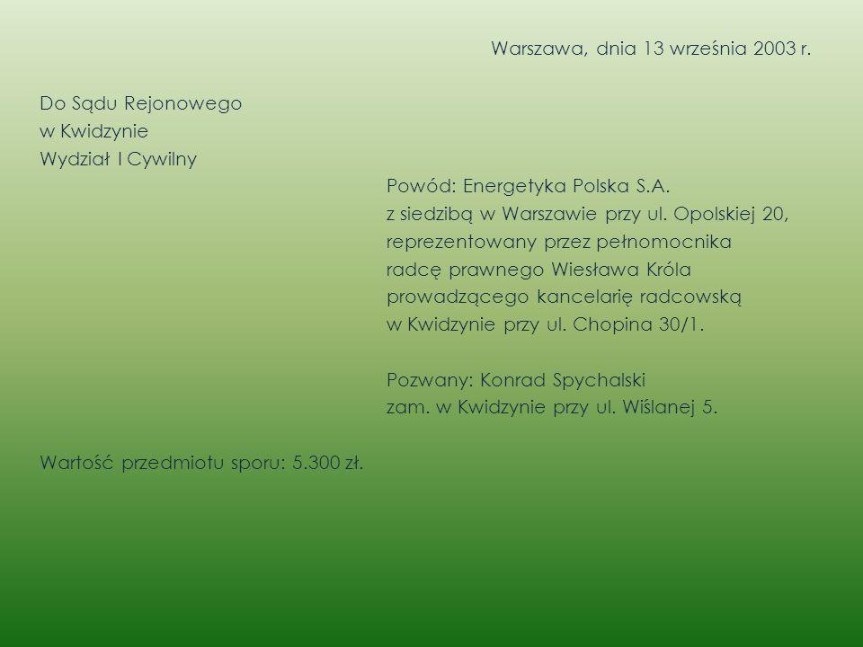 Warszawa, dnia 13 września 2003 r