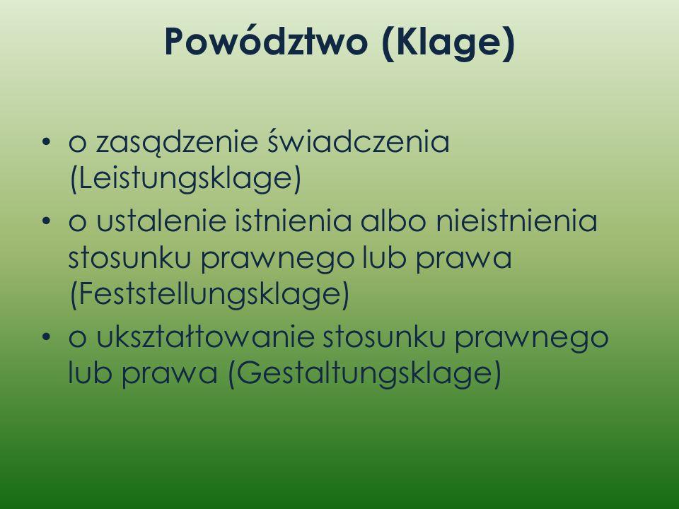 Powództwo (Klage) o zasądzenie świadczenia (Leistungsklage)