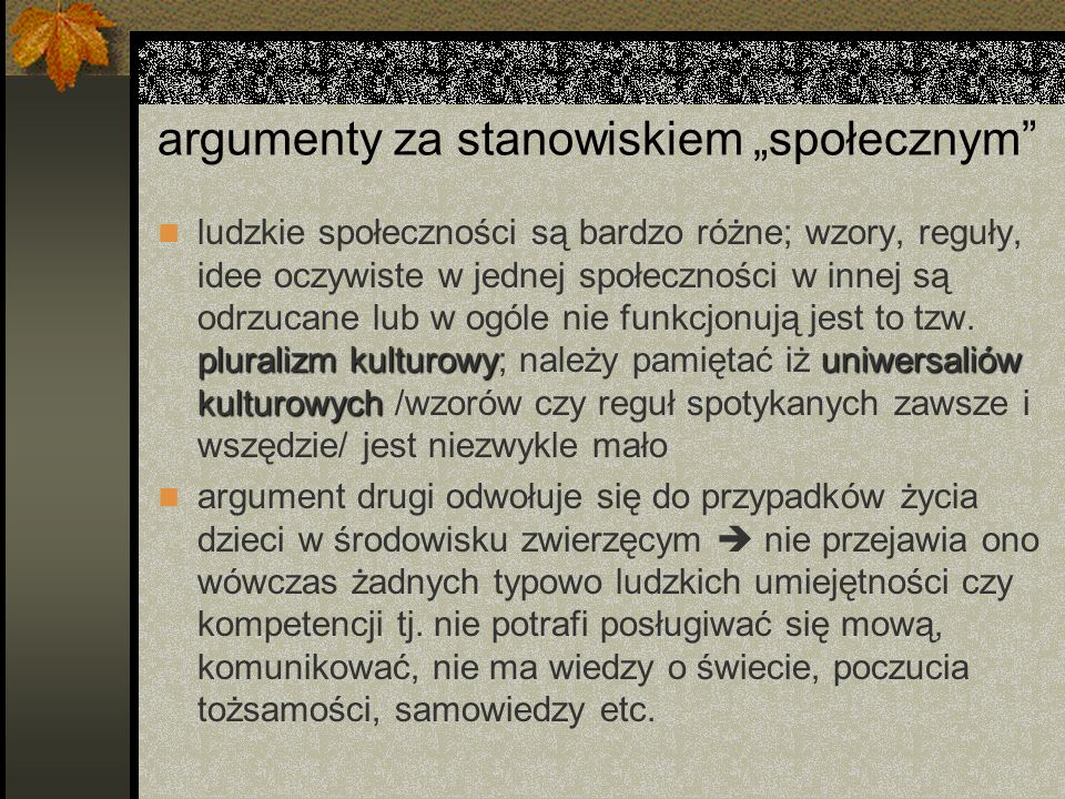 """argumenty za stanowiskiem """"społecznym"""