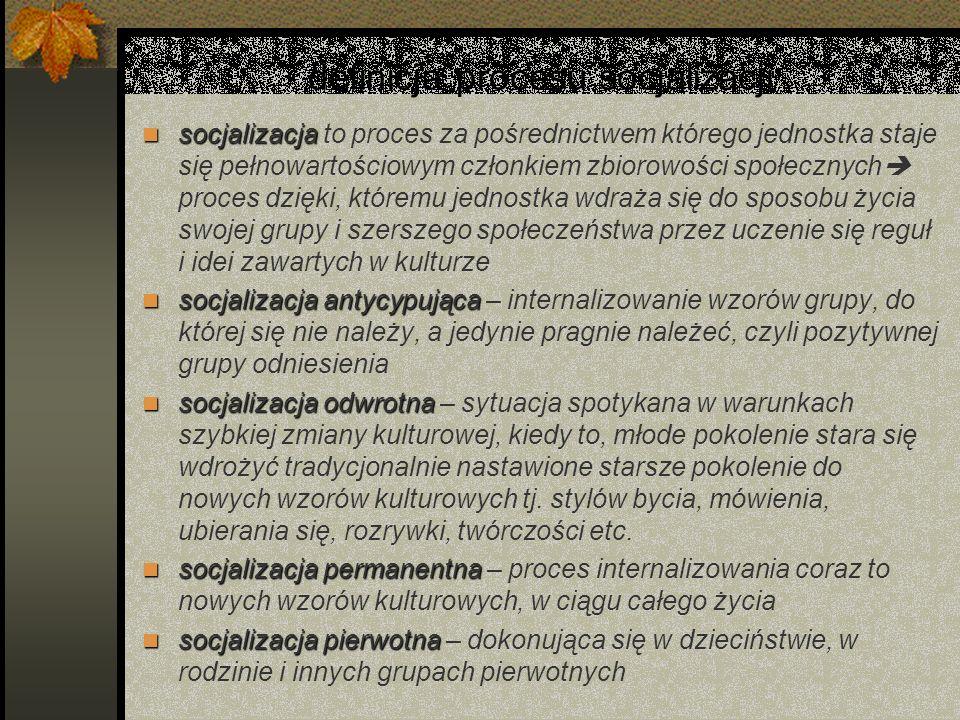 definicja procesu socjalizacji