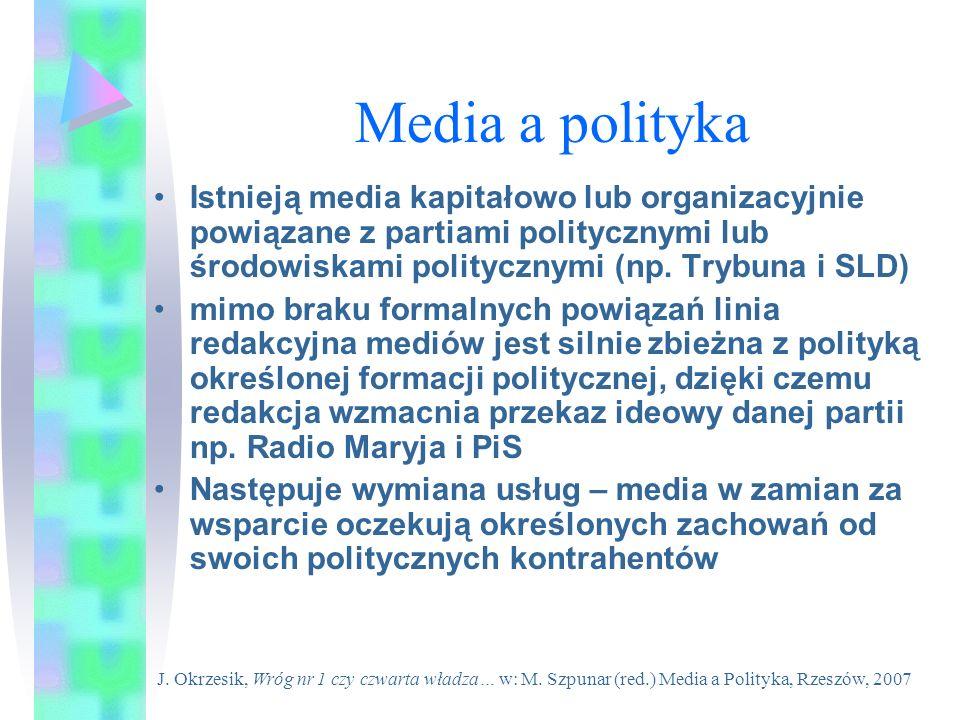 Media a politykaIstnieją media kapitałowo lub organizacyjnie powiązane z partiami politycznymi lub środowiskami politycznymi (np. Trybuna i SLD)