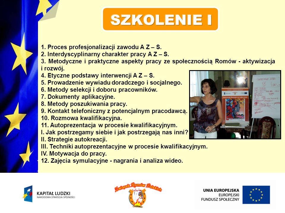 SZKOLENIE I 1. Proces profesjonalizacji zawodu A Z – S.