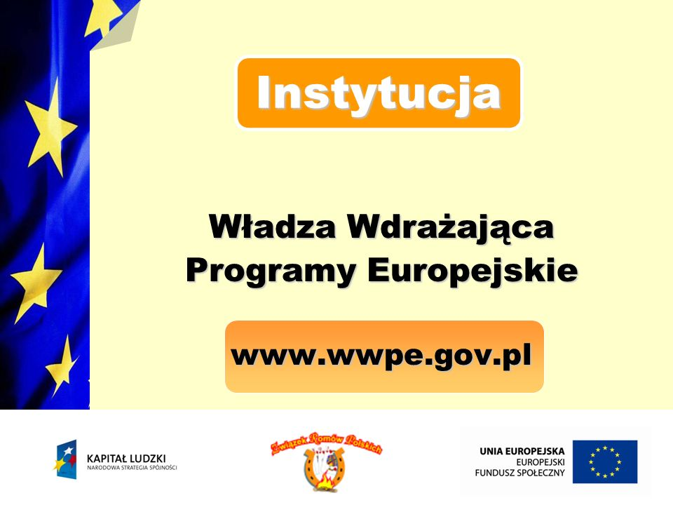 Instytucja Władza Wdrażająca Programy Europejskie www.wwpe.gov.pl