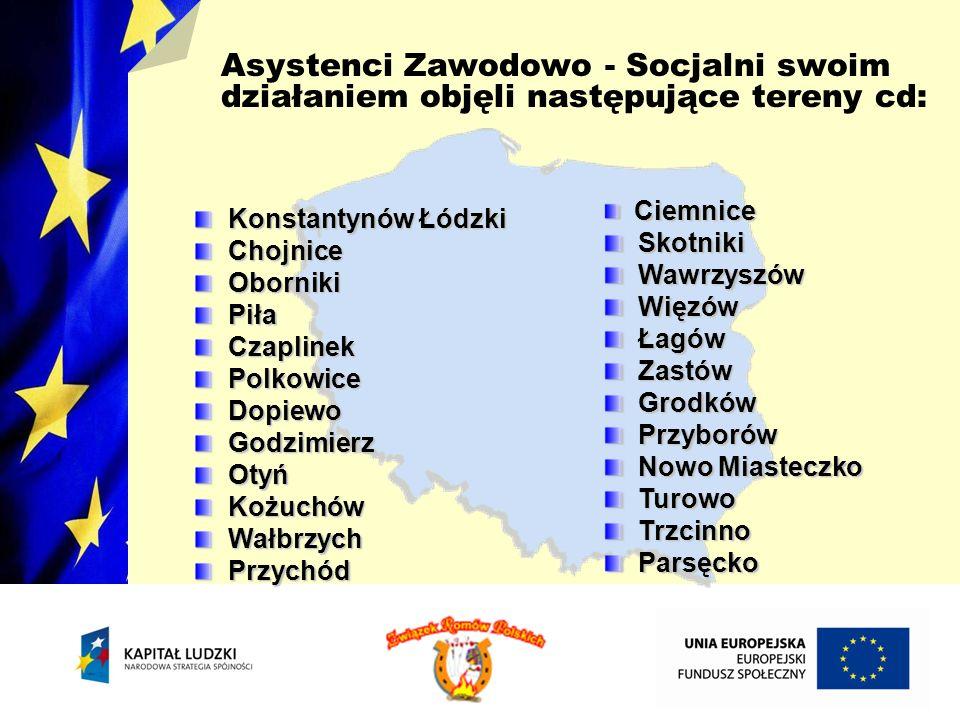 Asystenci Zawodowo - Socjalni swoim działaniem objęli następujące tereny cd: