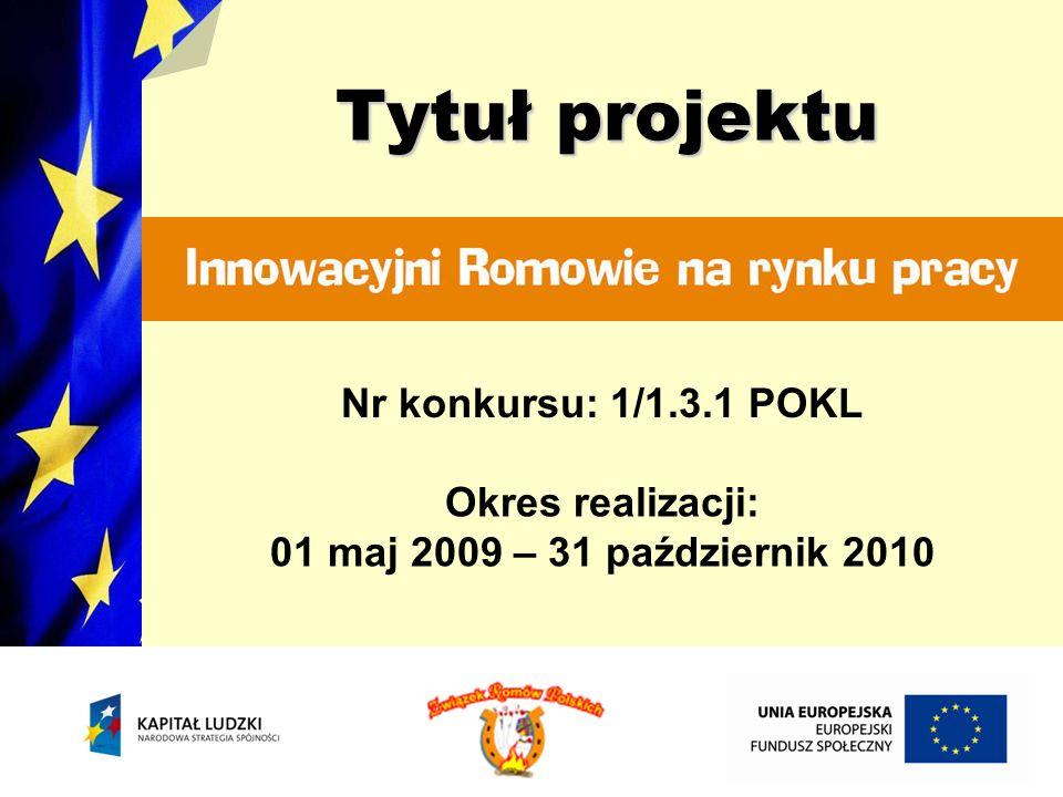 Tytuł projektu Nr konkursu: 1/1.3.1 POKL Okres realizacji: