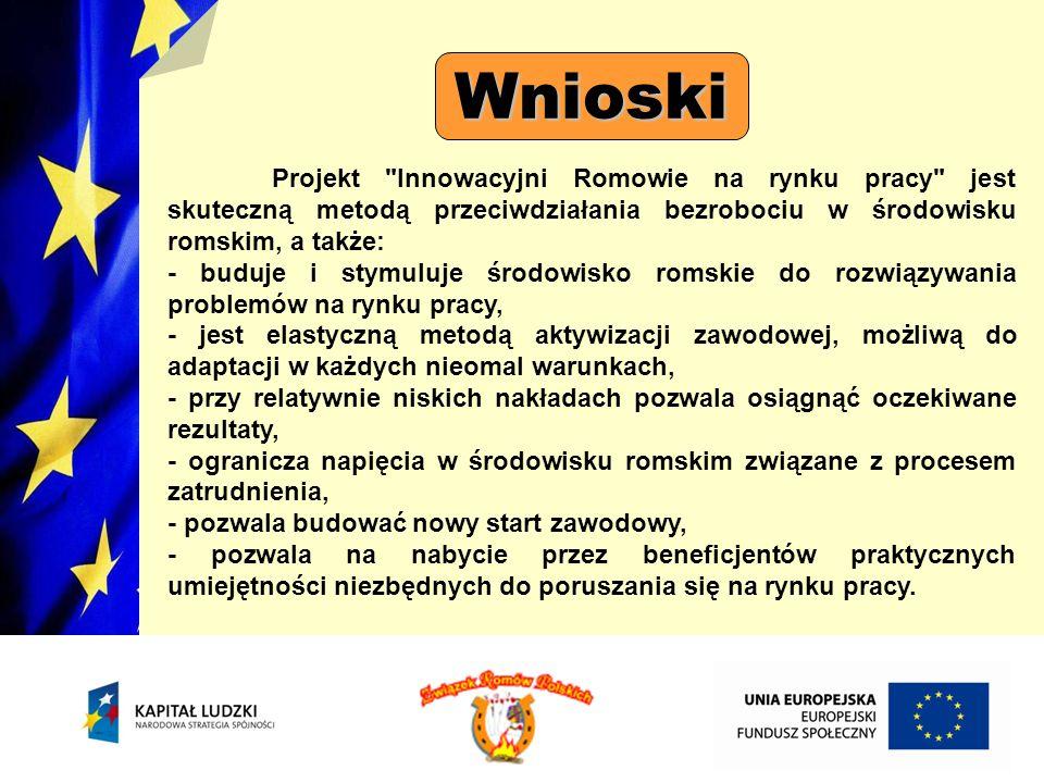 Wnioski Projekt Innowacyjni Romowie na rynku pracy jest skuteczną metodą przeciwdziałania bezrobociu w środowisku romskim, a także: