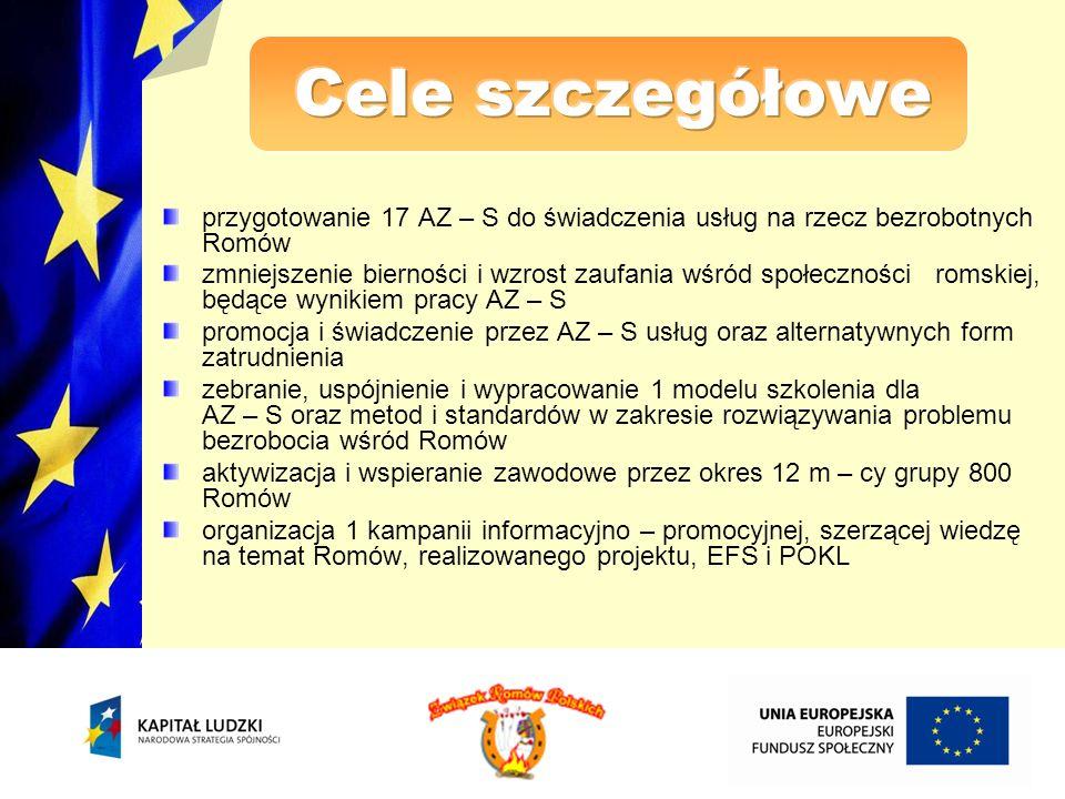 Cele szczegółowe przygotowanie 17 AZ – S do świadczenia usług na rzecz bezrobotnych Romów.