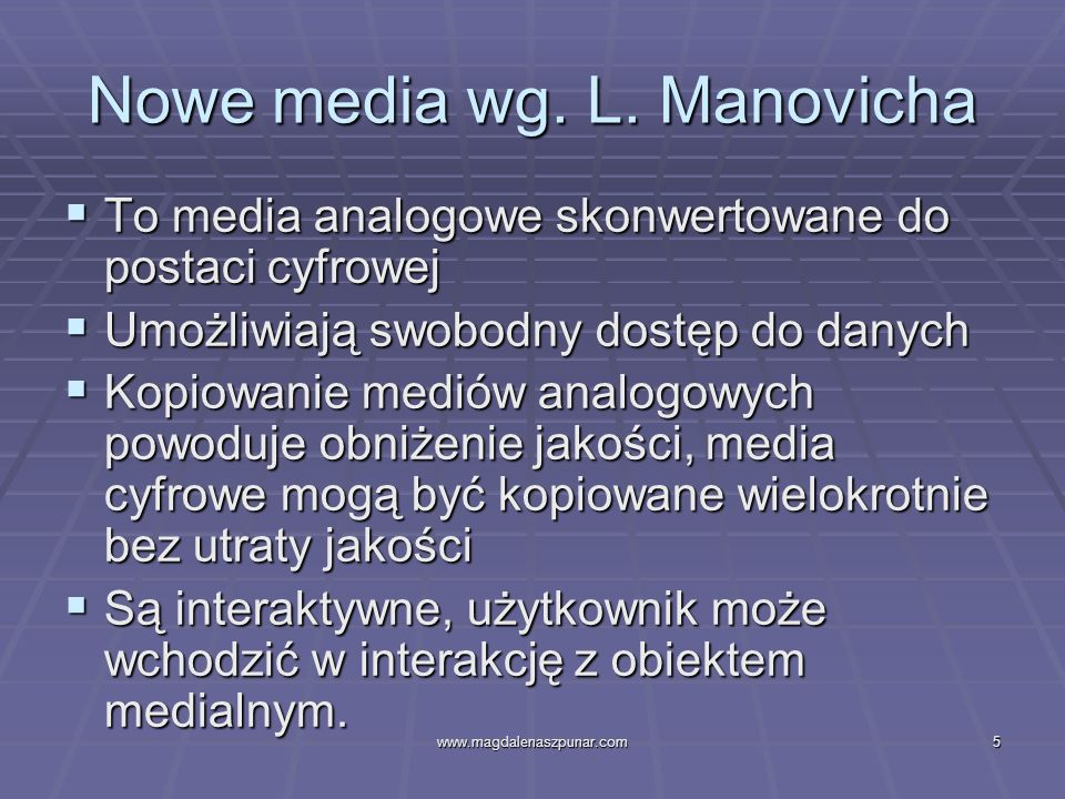 Nowe media wg. L. Manovicha