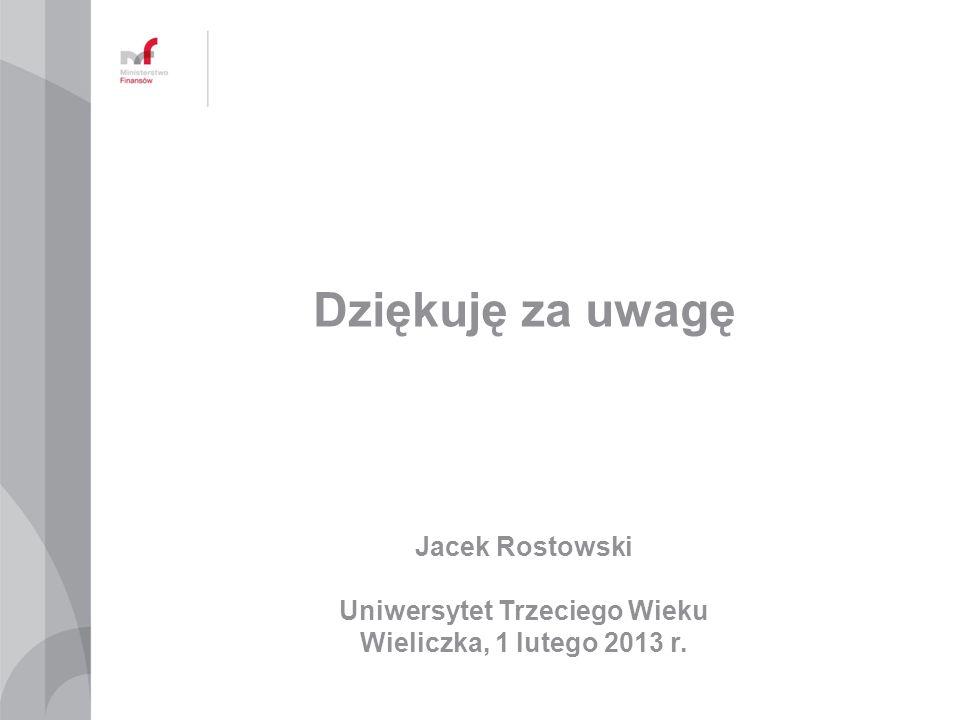 Dziękuję za uwagę Jacek Rostowski Uniwersytet Trzeciego Wieku Wieliczka, 1 lutego 2013 r.