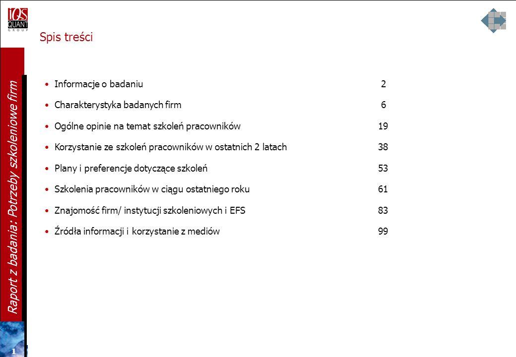 Spis treści Informacje o badaniu 2 Charakterystyka badanych firm 6