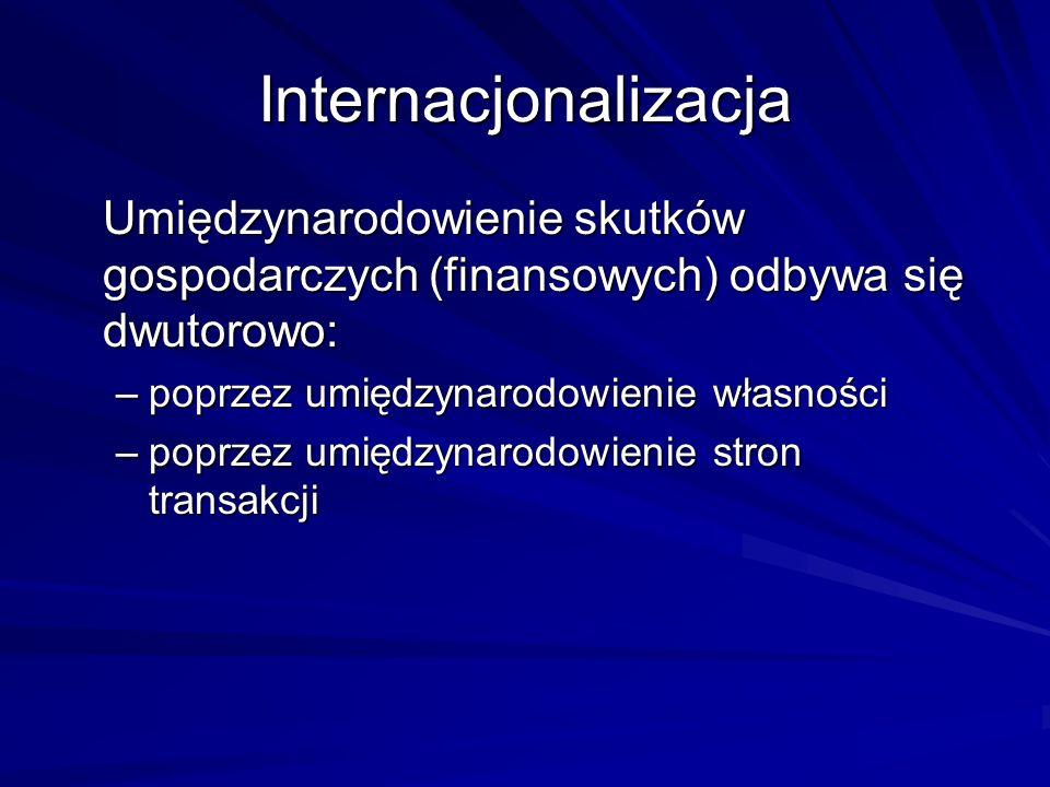 Internacjonalizacja Umiędzynarodowienie skutków gospodarczych (finansowych) odbywa się dwutorowo: poprzez umiędzynarodowienie własności.