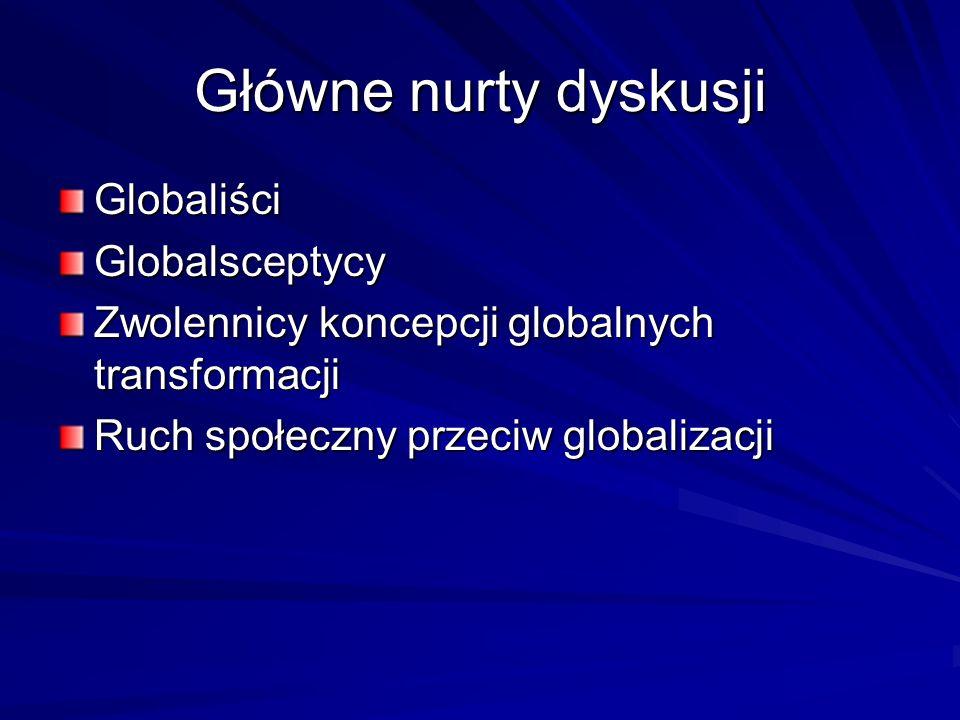 Główne nurty dyskusji Globaliści Globalsceptycy