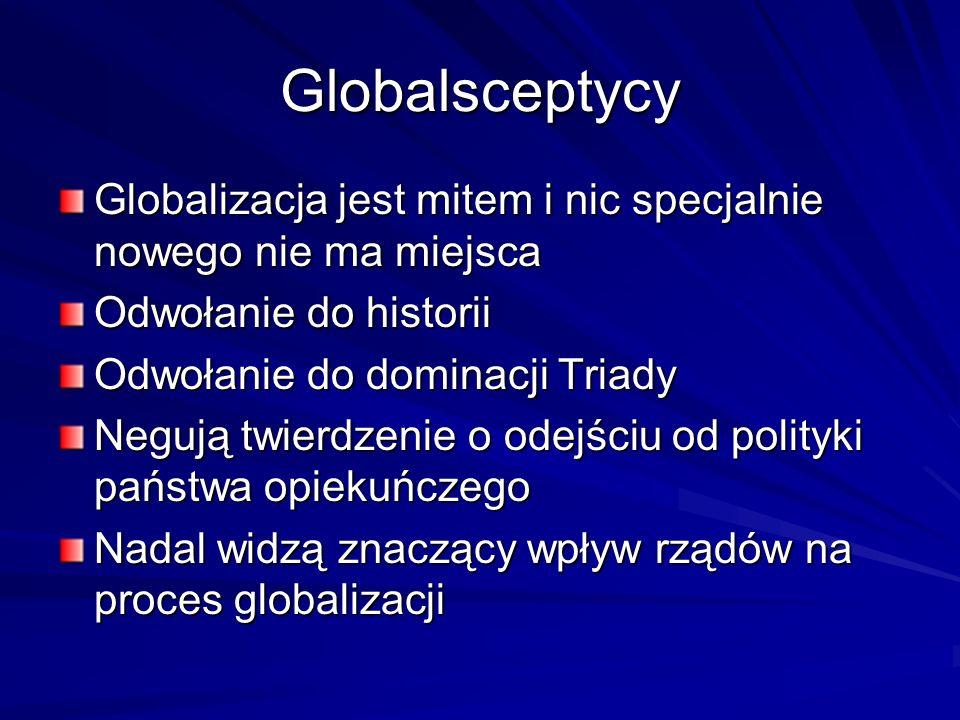 Globalsceptycy Globalizacja jest mitem i nic specjalnie nowego nie ma miejsca. Odwołanie do historii.