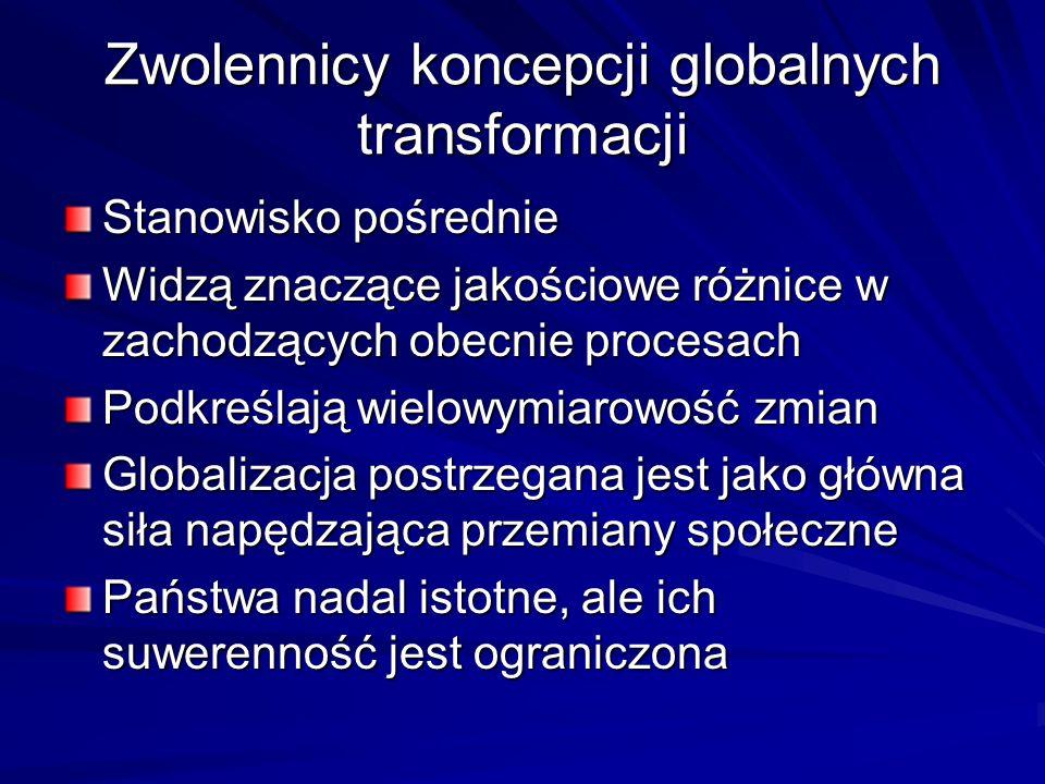 Zwolennicy koncepcji globalnych transformacji