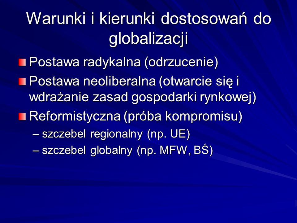 Warunki i kierunki dostosowań do globalizacji