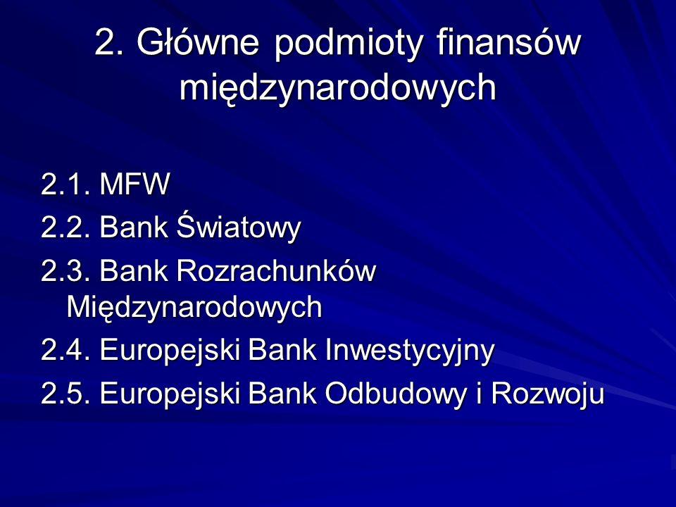 2. Główne podmioty finansów międzynarodowych