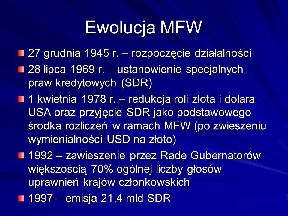 Ewolucja MFW 27 grudnia 1945 r. – rozpoczęcie działalności
