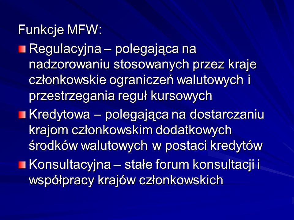 Funkcje MFW:Regulacyjna – polegająca na nadzorowaniu stosowanych przez kraje członkowskie ograniczeń walutowych i przestrzegania reguł kursowych.