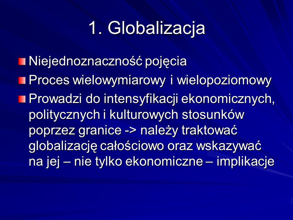 1. Globalizacja Niejednoznaczność pojęcia