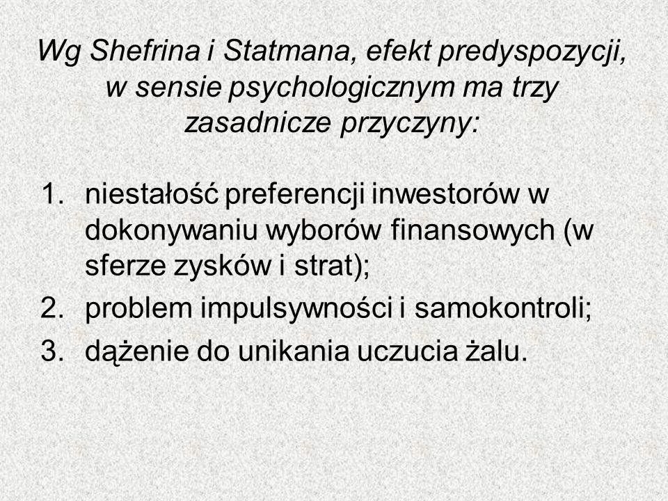 Wg Shefrina i Statmana, efekt predyspozycji, w sensie psychologicznym ma trzy zasadnicze przyczyny: