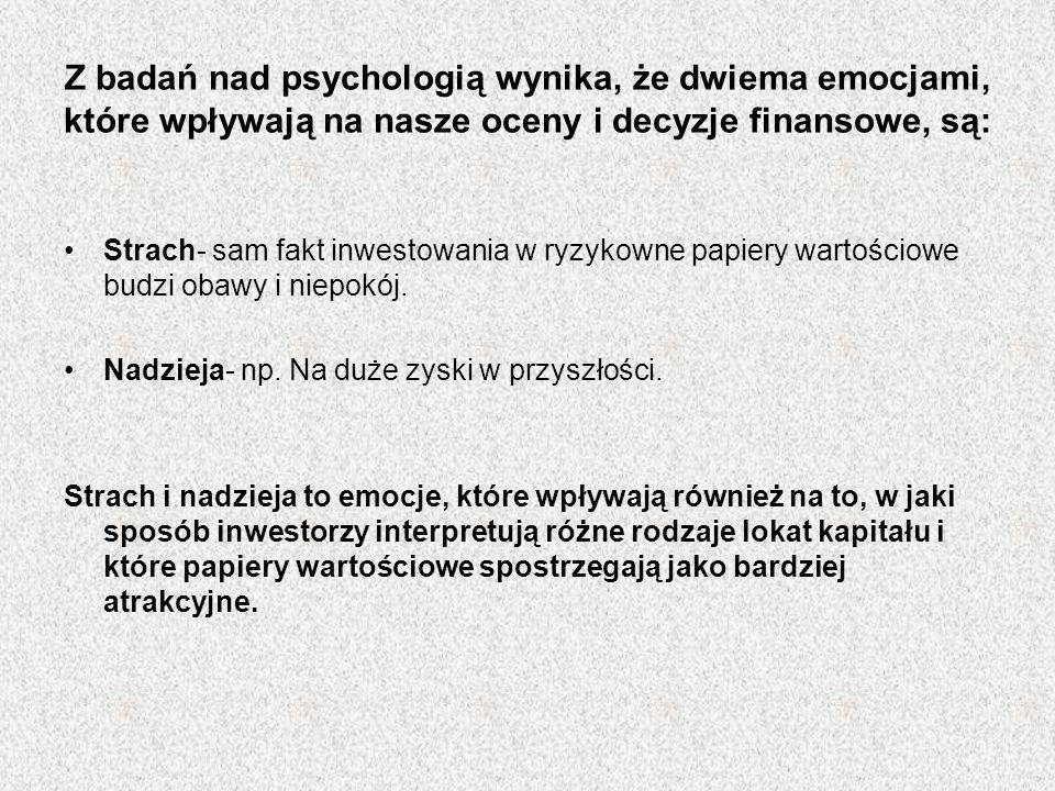 Z badań nad psychologią wynika, że dwiema emocjami, które wpływają na nasze oceny i decyzje finansowe, są: