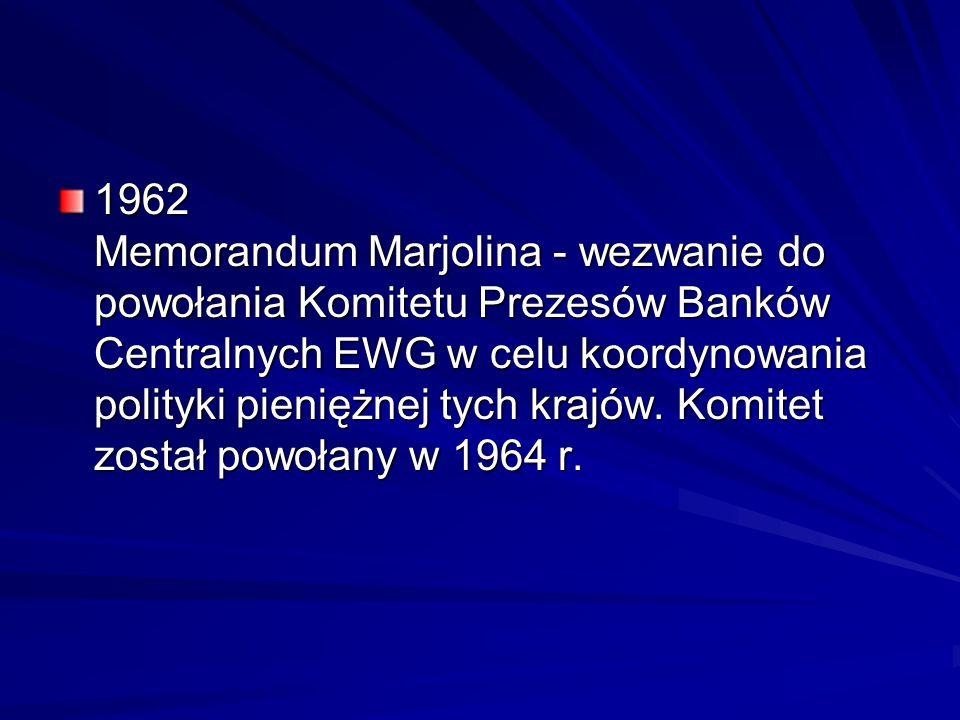 1962 Memorandum Marjolina - wezwanie do powołania Komitetu Prezesów Banków Centralnych EWG w celu koordynowania polityki pieniężnej tych krajów.