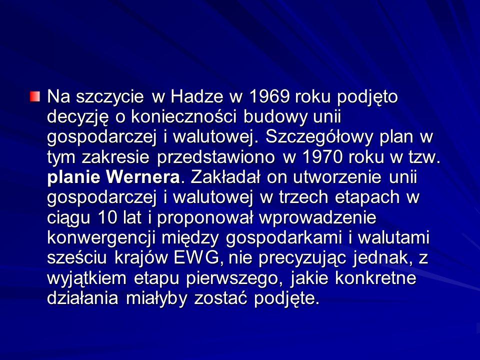 Na szczycie w Hadze w 1969 roku podjęto decyzję o konieczności budowy unii gospodarczej i walutowej.