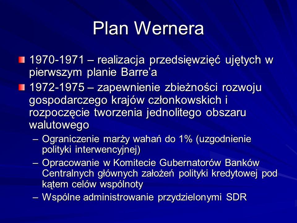 Plan Wernera 1970-1971 – realizacja przedsięwzięć ujętych w pierwszym planie Barre'a.