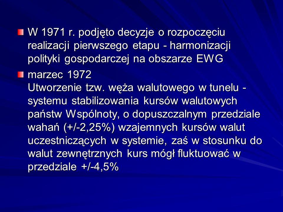 W 1971 r. podjęto decyzje o rozpoczęciu realizacji pierwszego etapu - harmonizacji polityki gospodarczej na obszarze EWG