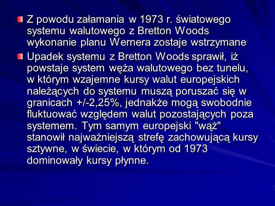 Z powodu załamania w 1973 r. światowego systemu walutowego z Bretton Woods wykonanie planu Wernera zostaje wstrzymane