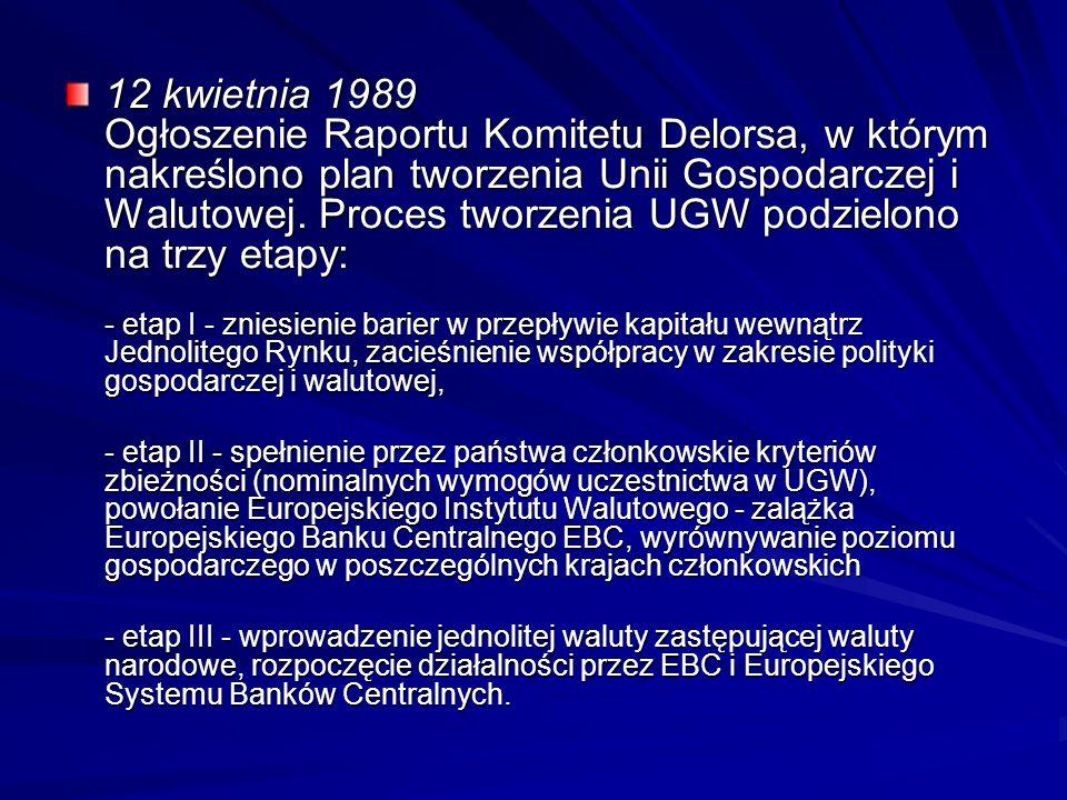 12 kwietnia 1989 Ogłoszenie Raportu Komitetu Delorsa, w którym nakreślono plan tworzenia Unii Gospodarczej i Walutowej. Proces tworzenia UGW podzielono na trzy etapy: