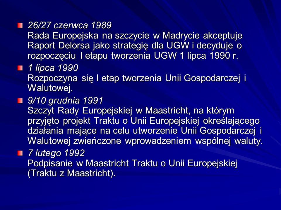 26/27 czerwca 1989 Rada Europejska na szczycie w Madrycie akceptuje Raport Delorsa jako strategię dla UGW i decyduje o rozpoczęciu I etapu tworzenia UGW 1 lipca 1990 r.