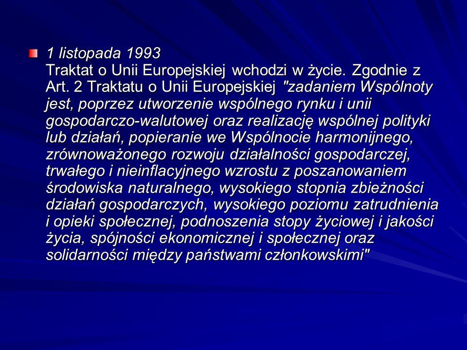 1 listopada 1993 Traktat o Unii Europejskiej wchodzi w życie