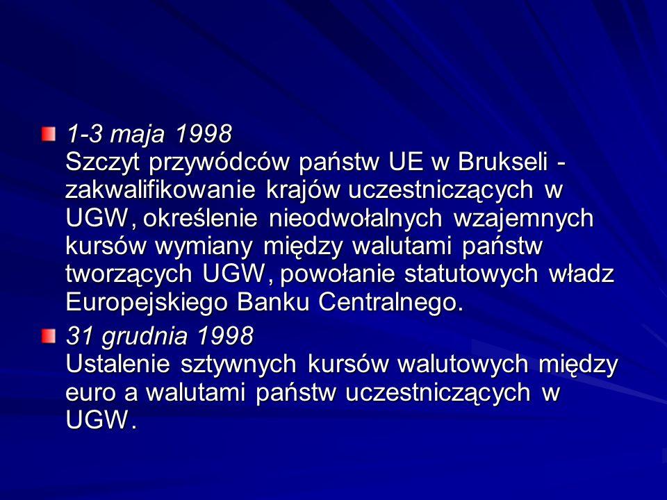 1-3 maja 1998 Szczyt przywódców państw UE w Brukseli - zakwalifikowanie krajów uczestniczących w UGW, określenie nieodwołalnych wzajemnych kursów wymiany między walutami państw tworzących UGW, powołanie statutowych władz Europejskiego Banku Centralnego.