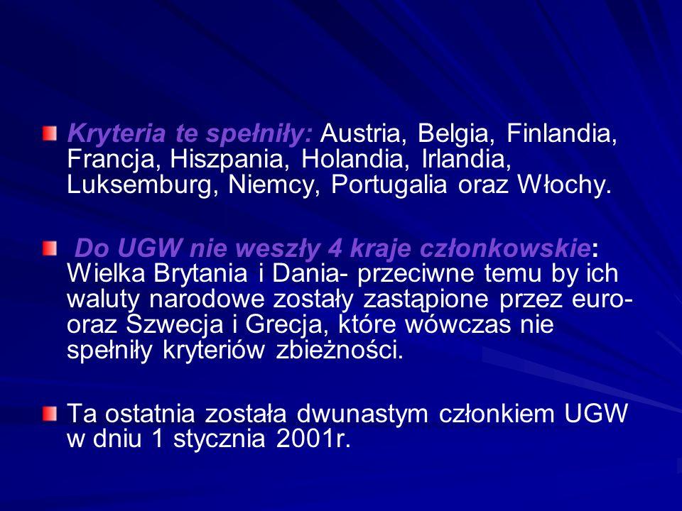 Kryteria te spełniły: Austria, Belgia, Finlandia, Francja, Hiszpania, Holandia, Irlandia, Luksemburg, Niemcy, Portugalia oraz Włochy.