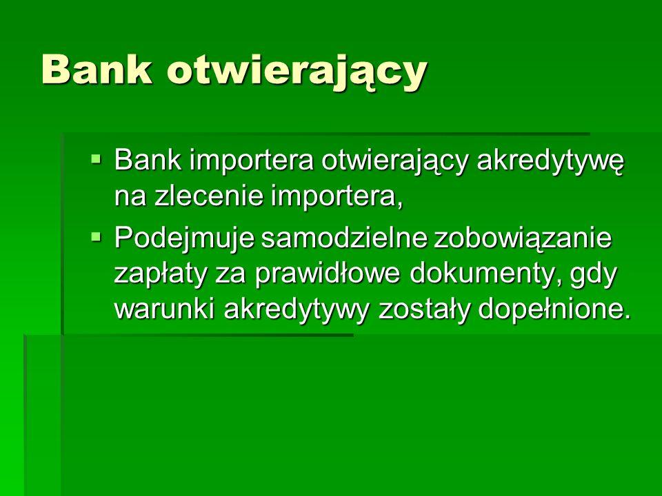 Bank otwierający Bank importera otwierający akredytywę na zlecenie importera,