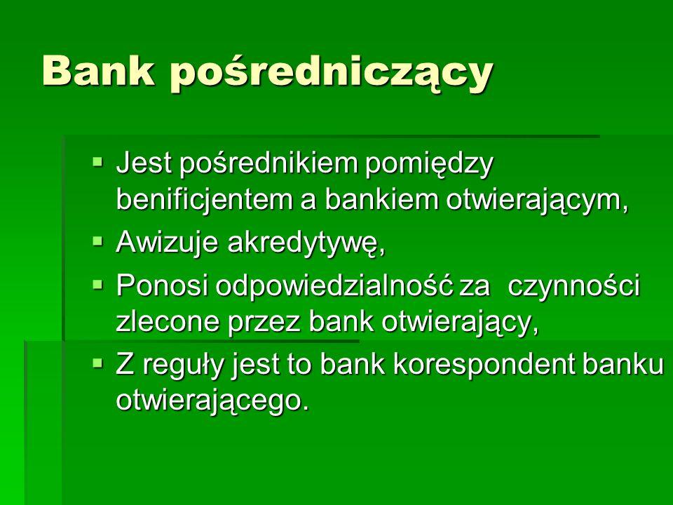 Bank pośredniczący Jest pośrednikiem pomiędzy benificjentem a bankiem otwierającym, Awizuje akredytywę,