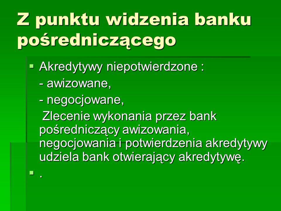 Z punktu widzenia banku pośredniczącego