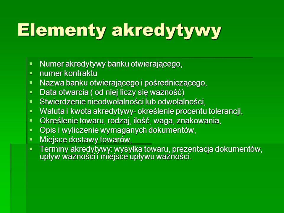 Elementy akredytywy Numer akredytywy banku otwierającego,
