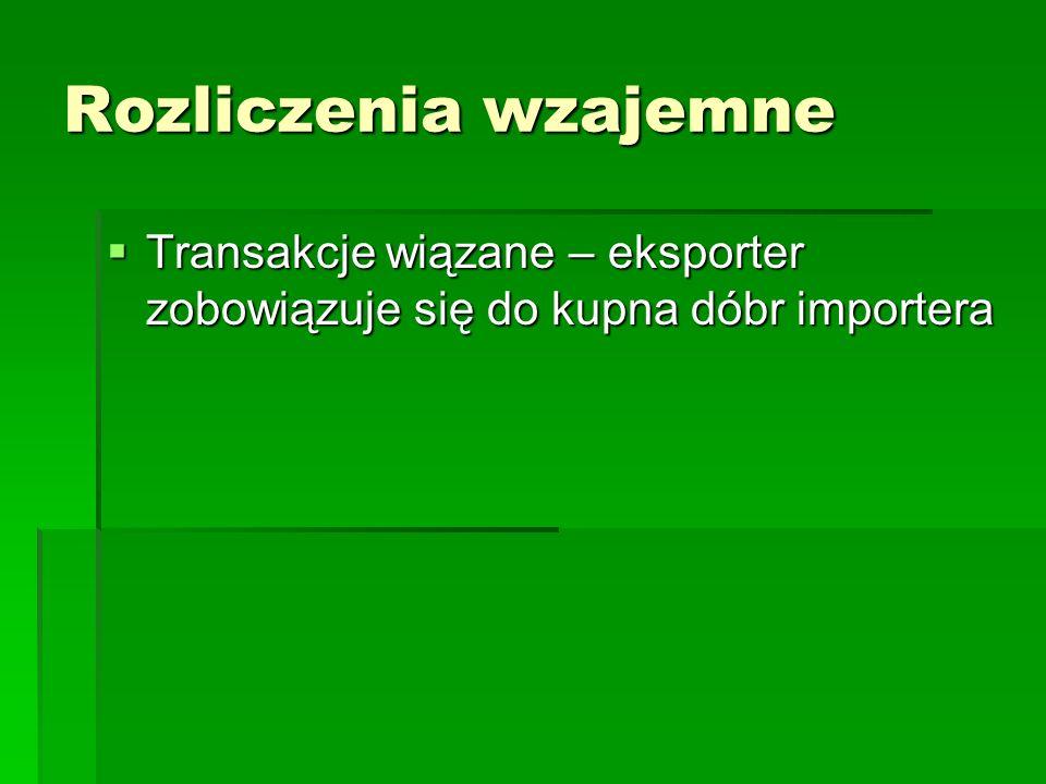 Rozliczenia wzajemne Transakcje wiązane – eksporter zobowiązuje się do kupna dóbr importera