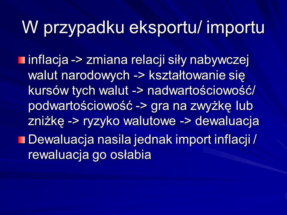 W przypadku eksportu/ importu