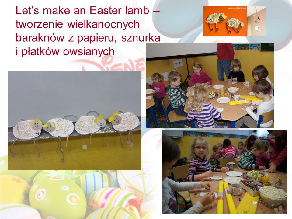 Let's make an Easter lamb – tworzenie wielkanocnych baraknów z papieru, sznurka i płatków owsianych