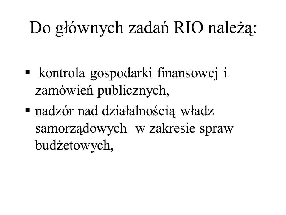 Do głównych zadań RIO należą: