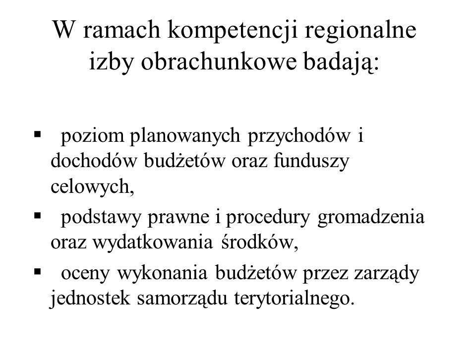 W ramach kompetencji regionalne izby obrachunkowe badają: