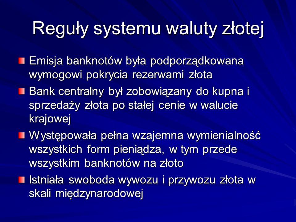Reguły systemu waluty złotej