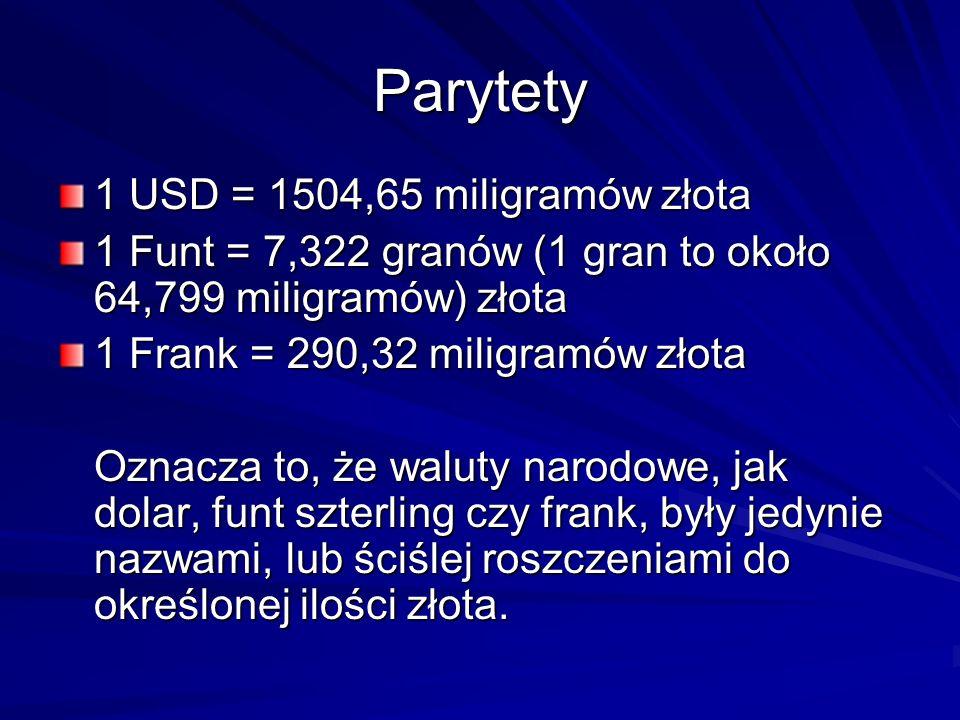 Parytety 1 USD = 1504,65 miligramów złota
