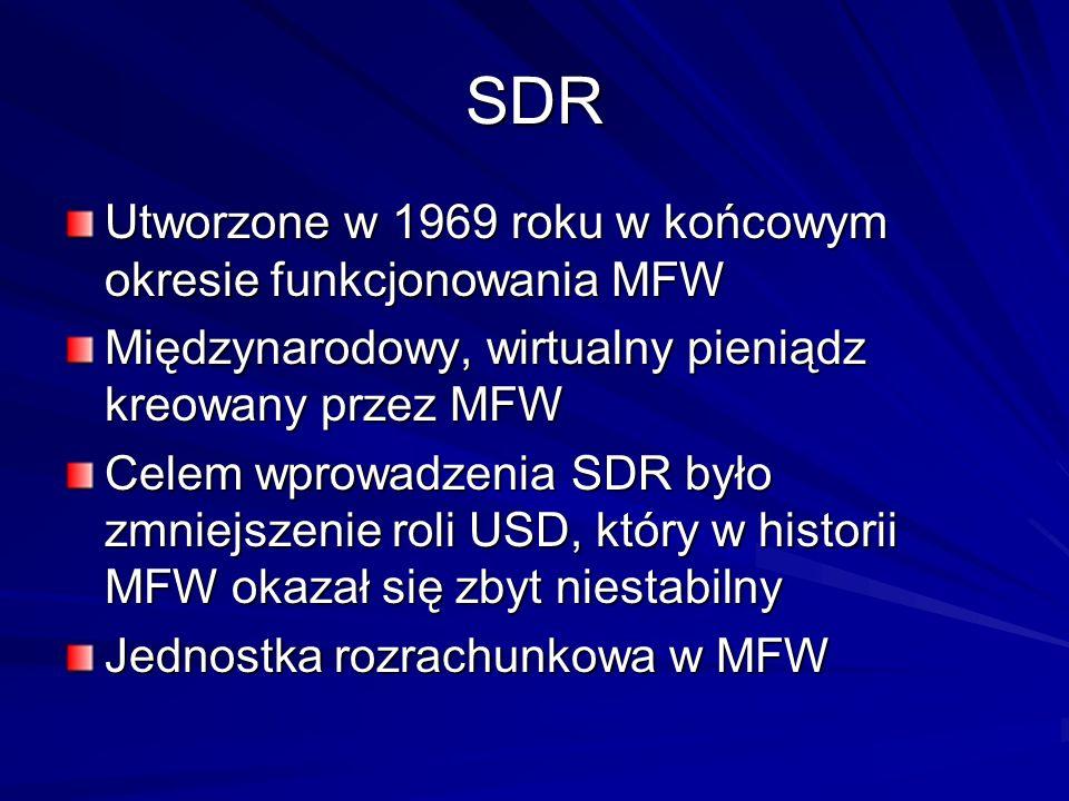 SDR Utworzone w 1969 roku w końcowym okresie funkcjonowania MFW