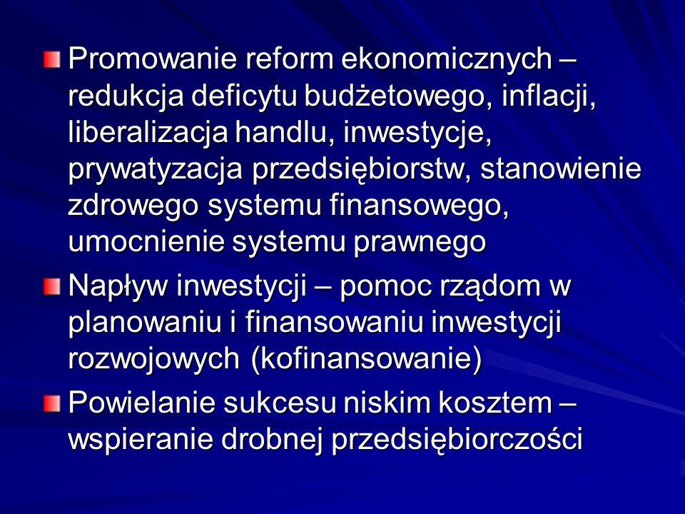 Promowanie reform ekonomicznych – redukcja deficytu budżetowego, inflacji, liberalizacja handlu, inwestycje, prywatyzacja przedsiębiorstw, stanowienie zdrowego systemu finansowego, umocnienie systemu prawnego
